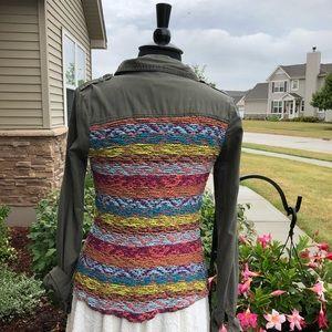 Crochet Back Shirt Jacket BKE Army Olive Green